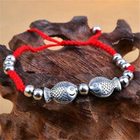 Feng Shui Red String Lucky Wooden Twin Fish Charm Bracelet for Good Luck Wealth♫