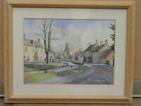 Original  watercolour painting of Lower Slauhgter Gloucestershire Frederick Lea