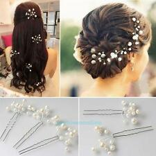 6Pcs Wedding Bridal Bridesmaid Faux Pearl Flower Headpiece Hair Pin Accessories