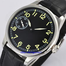 Parnis 44mm Men's Hand Winding Seagull 6497 Movement Watch Luminous Numbers Dial