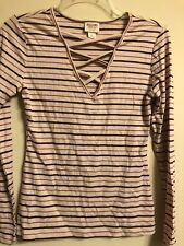 Mossimo CrissCross Front Neck Long Sleeve Pink & Maroon Striped Shirt Size S