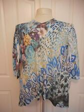 Jess and Jane drop side hem blue rose floral 3/4 sleeve jeweled tunic top large