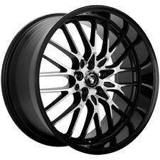 """4-Konig 16MB Lace 17x8 5x100 +35mm Black/Machined Wheels Rims 17"""" Inch"""