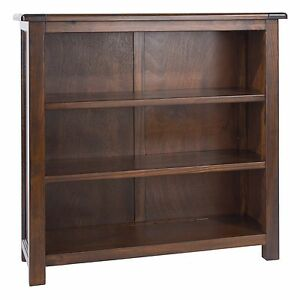 Bookcase 3 Shelf Storage Unit Solid Pine Dark Wood Low Wide Display Baltia