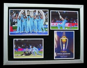 ENGLAND CRICKET WORLD CUP FINAL LTD TOP QUALITY FRAMED DISPLAY+FAST GLOBAL SHIP