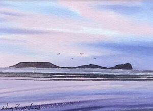 """Original painting  'Worm's Head, Rhossili """" Ready for a 10 x 8inch frame"""