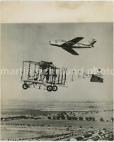 North American F-86 Sabre & Duigan Pusher Biplane Original Press Photo, AZ770