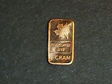 1 Gram .999 Fine Copper Mapleleaf Bullion Bar
