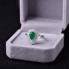 Gorgeous Natural Colombian Emerald and Diamond Ring, Sterling Silver S925
