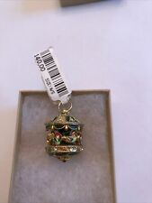 Faberge Egg Pendant / Charm with Crystals Enamel Green, Red & Gold Carousel