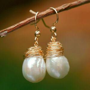 Unique 11-12x14-15mm Baroque Kasumi pearl Natural White Tassel earring 34mm E332