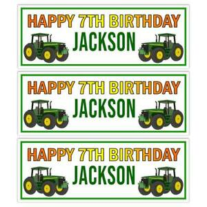 TRACTOR GREEN JOHN D FARM BIRTHDAY BANNER PARTY WALL DECORATIONS NAME BANNER