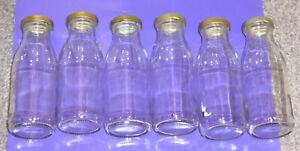 x 6 *MINI GLASS MILK BOTTLES* 250ml {Cream / Wedding / BBQ / Party / Vase / Lid}