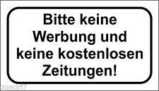 Schild: Bitte keine Werbung und kostenlos Zeitungen! 40x70mm TRANSPARENT!