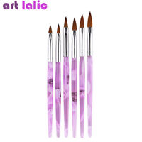 6 Sizes Manicure Acrylic Nail Art Tips Sable Brush Painting Tool Drawing Set