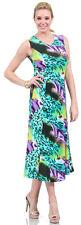 ASHLI Green Multicolor Animal Print Abstract Sleeveless Wrinkle Free Dress -Sz S