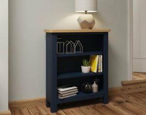 Oak City - Dorset Painted Blue Oak Small Wide Bookcase