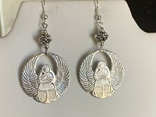 New Item-Hand-Crafted Vintage Egyptian Revival Silver-Winged Scarab Earrings