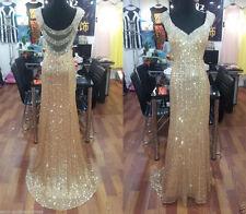 Prom Dress Wedding G0wn Gold sequins Long Formal Ball Evening Party dress custom