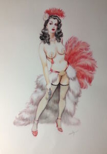 """""""Pressure Cooker"""" by  Maly Siri original watercolor painting vintage pinup"""