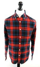 ABERCROMBIE & FITCH Mens Shirt S Small Blue Red Cotton Slim