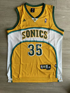 Seattle Supersonics Durant Jersey #35 Yellow Size Large