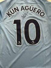 Sergio Aguero Signed Man City 2017-18 New Home Shirt Large Mens