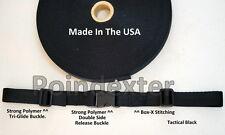 1 Inch Nylon Webbing Black Sternum Strap Backpack Chest Harness, NEW USA