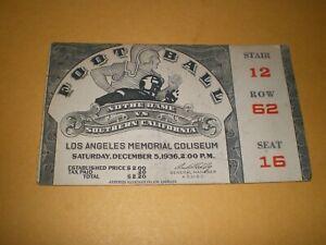 Football Ticket Stub Dec. 5 1936 Notre Dame vs. Southern California