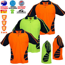 2 3 5  PACK Hi-Vis Safety T-Shirt Lapel Stripe Work Wear Cooldry Shirt Polo