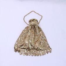 Vintage Gold Tone Metal Mesh Fancy/Flashy Lipstick Hand Bag Purse