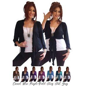 Bolero Tie front Ruffle Sweater Cardigan MUST HAVE Jersey Stretch Vest K518