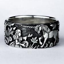 Vintage 925 Silver Horse Rabbit Animal Ring Women Men Wedding Jewelry Size 5-10