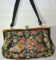 Vintage Made in Western Germany Black Tapestry Floral Purse Handbag