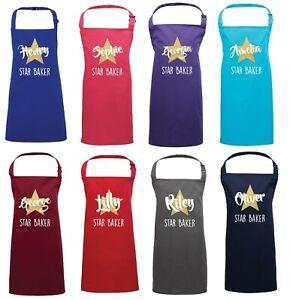 Personalised Kids Apron - Gold Glitter Star Baker Customised Name Childrens