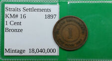 World Foreign Old British Straits Settlements 1 Cent Coin 1897  KM# 16  !!