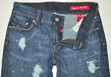 NEW 7 Seven Crinkle Fctry Destroyd Lincoln Regular Boot Jeans 26X34 Stretch Long