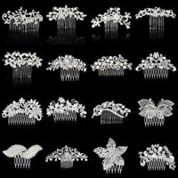Wedding Party Flower Crystal Rhinestone Bridal Hair Comb Clip Hair Accessory