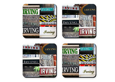 Personalized Coasters featuring the name JAMES in photos of signs - Set of 4