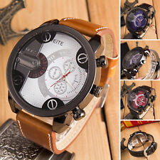 Luxury Mens Military Watch Stainless Steel Leather Quartz Analog Sport Watch
