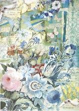 Rice Paper for Decoupage Scrapbook Craft Sheet - Blue Flowers