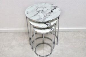 3er Beistelltisch Glas Marmoroptik / Zigon Sehpa