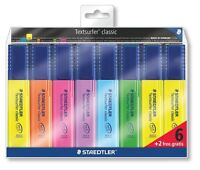 Staedtler Highlighter Pens Staedtler Textsurfer - Asst Colours Promo Pack 6 + 2