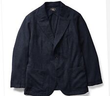 $690 RRL Ralph Lauren Navy Seal Japanese Indigo Wool Cotton Sport Coat Jacket-XL