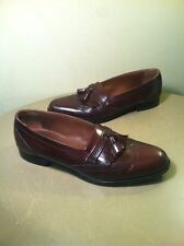 Vintage Bostonian Leather Wing Tip Tassel Dress Shoes Brown Burgandy Size 10.5 M
