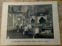*RARE* Trade Card Lampson's Barber Shop Interior, Railroad Tables,Penn Yan, N.Y.