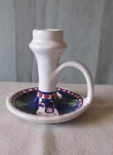 """Giovanni Vietri Hand Painted Pottery Candle Holder:  3 1/2"""" Tall"""