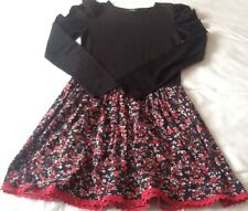 GEORGE GIRL BLACK AND RED FLORAL LONG SLEEVED DRESS 10-11 YEARS VGC