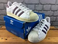 ADIDAS OG LADIES UK 5.5 EU 38 2/3 SUPERSTAR TRAINERS WHITE TECH PURPLE RRP £85 M
