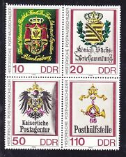 Germany DDR 2798 MNH 1990 Coats of Arms Blocks of 4 Telecommunication Workers